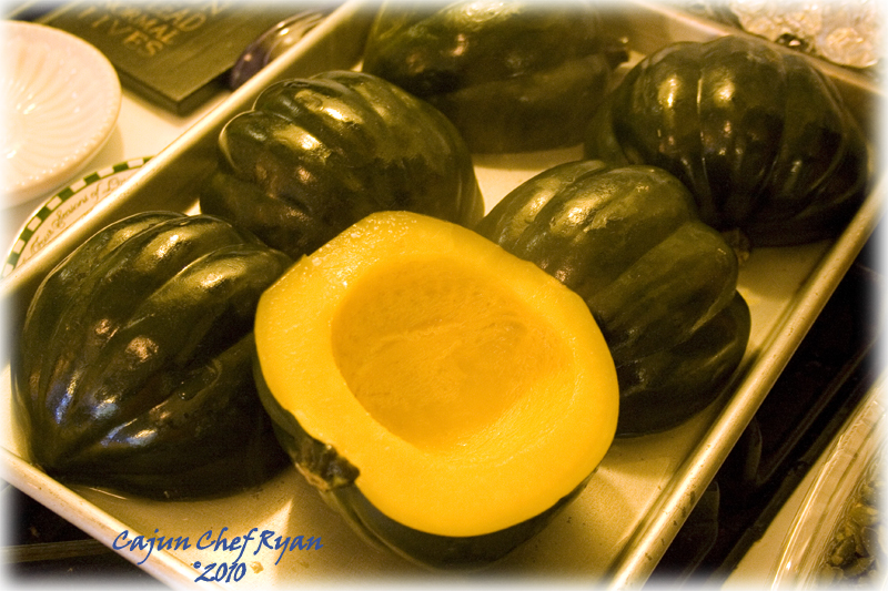 Acorn Squash cooling on baking sheet.