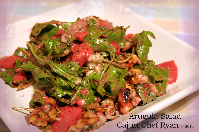 Arugula Salad with Walnuts, Gorgonzola, and Creamy Raspberry Vinaigrette Dressing