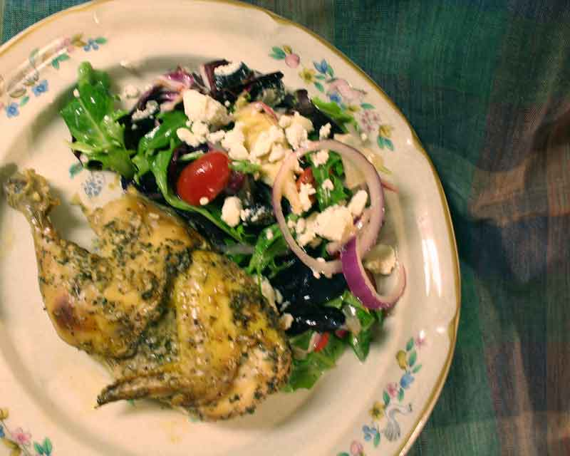 Roasted Cornish Hens with Rosemary Wine Sauce