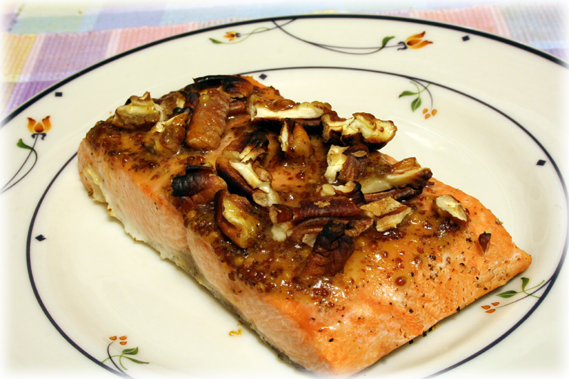Honey Creole Mustard Glazed Salmon with Pecans