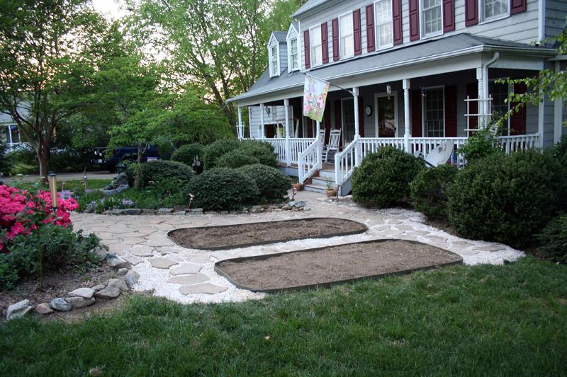 Edging added to garden plots
