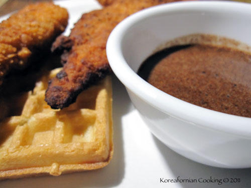 Chicken and waffles with spicy syrup