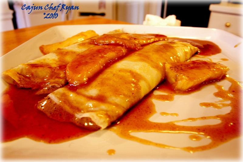 ... Crème filled Crêpes with Bananas Foster Sauce ~ Cajun Chef Ryan