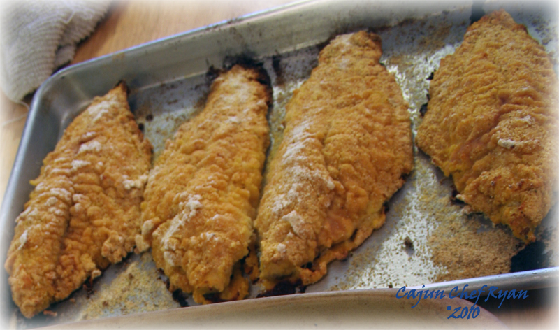 Oven Fried Catfish out of the oven and ready to serve