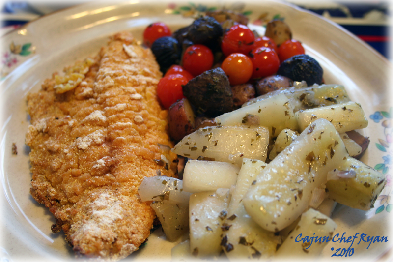 Oven Fried Catfish is served, along with Rockin Herb Roasted Potatoes ...