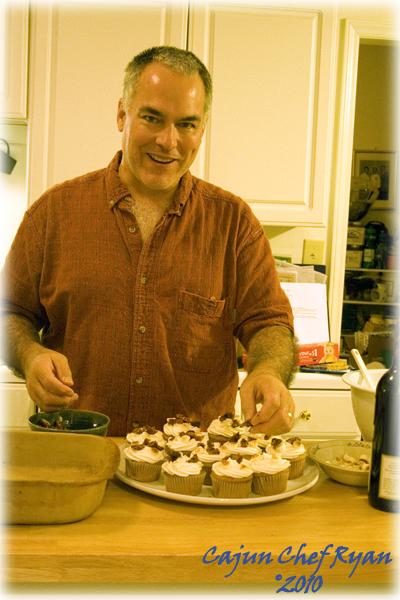 Ryan decorating the cupcakes.