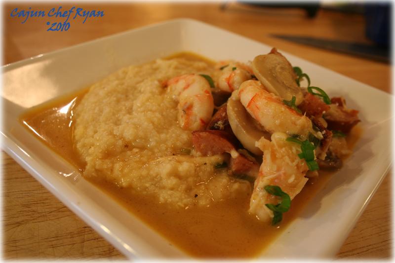 Shrimp, Smoked Sausage, and Grits ~ Cajun Chef Ryan