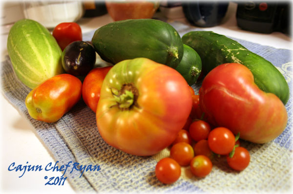Fresh from the garden tomatoes, cucumbers, eggplant