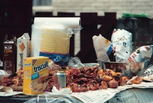 Crawfish and such on the newspaper lined table